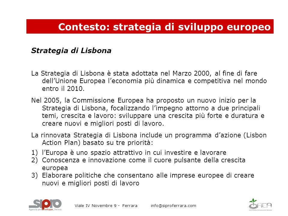 Contesto: strategia di sviluppo europeo Viale IV Novembre 9 - Ferrara info@siproferrara.com Strategia di Lisbona La Strategia di Lisbona è stata adottata nel Marzo 2000, al fine di fare dell'Unione Europea l'economia più dinamica e competitiva nel mondo entro il 2010.
