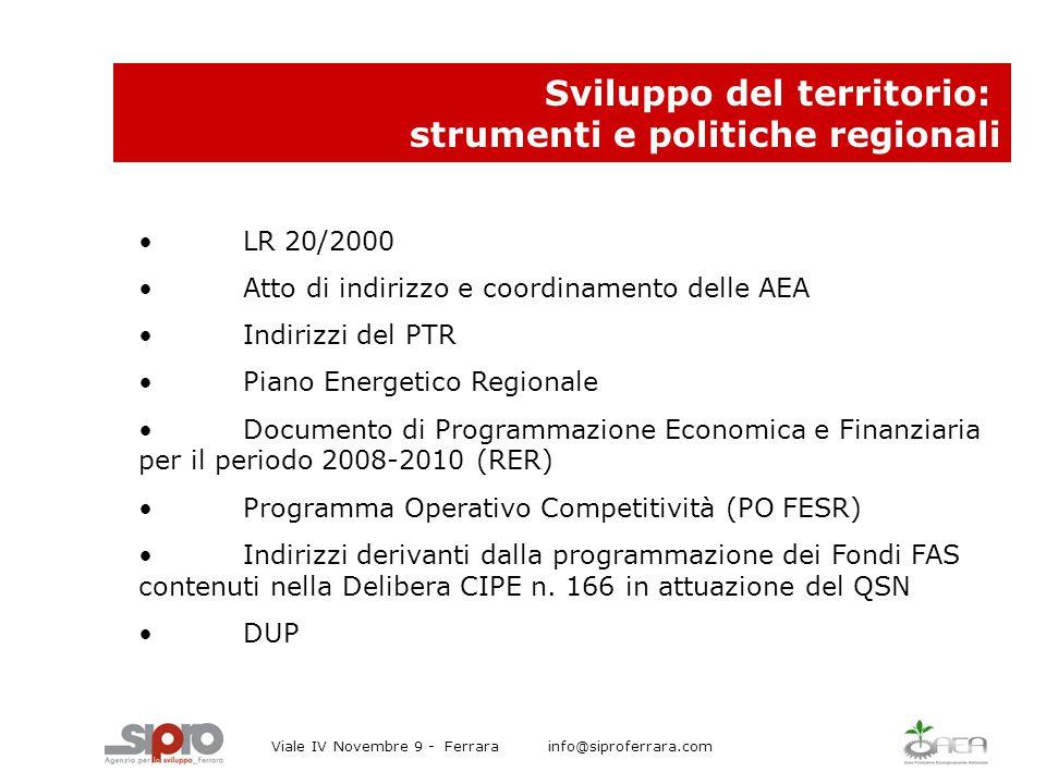 LR 20/2000 Atto di indirizzo e coordinamento delle AEA Indirizzi del PTR Piano Energetico Regionale Documento di Programmazione Economica e Finanziaria per il periodo 2008-2010 (RER) Programma Operativo Competitività (PO FESR) Indirizzi derivanti dalla programmazione dei Fondi FAS contenuti nella Delibera CIPE n.