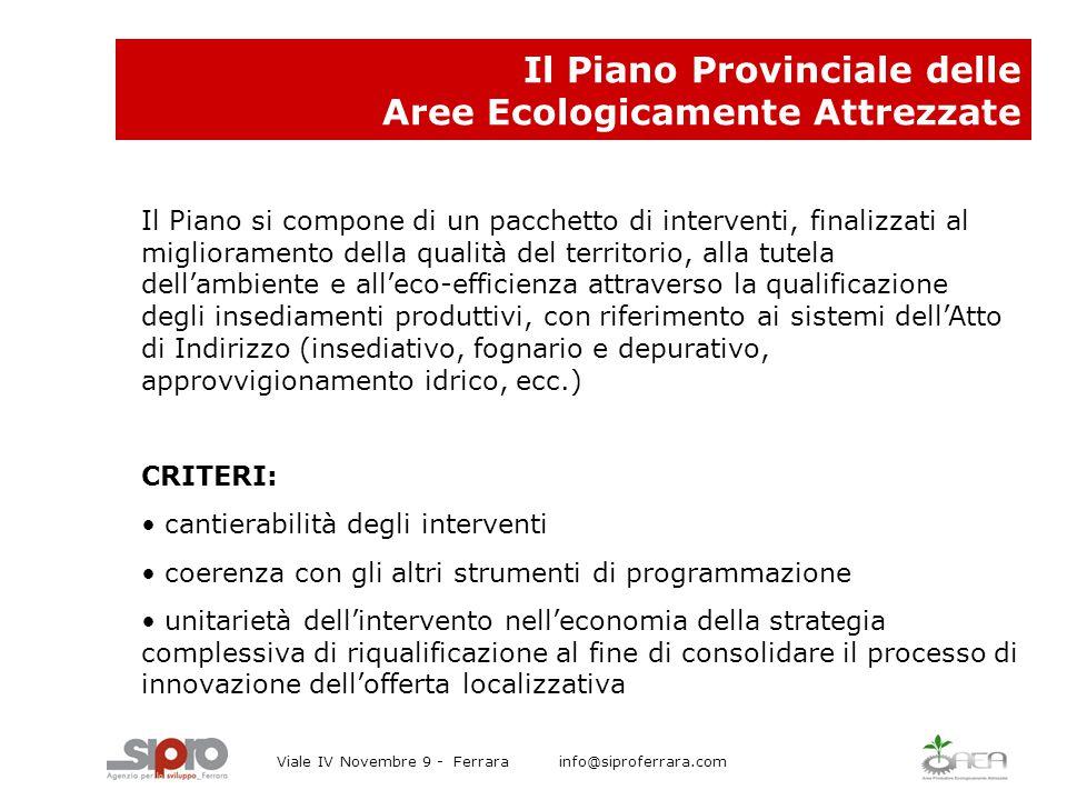 Il Piano Provinciale delle Aree Ecologicamente Attrezzate Il Piano si compone di un pacchetto di interventi, finalizzati al miglioramento della qualit