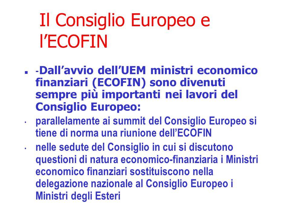 Il Consiglio Europeo e l'ECOFIN - Dall'avvio dell'UEM ministri economico finanziari (ECOFIN) sono divenuti sempre più importanti nei lavori del Consiglio Europeo: parallelamente ai summit del Consiglio Europeo si tiene di norma una riunione dell'ECOFIN nelle sedute del Consiglio in cui si discutono questioni di natura economico-finanziaria i Ministri economico finanziari sostituiscono nella delegazione nazionale al Consiglio Europeo i Ministri degli Esteri
