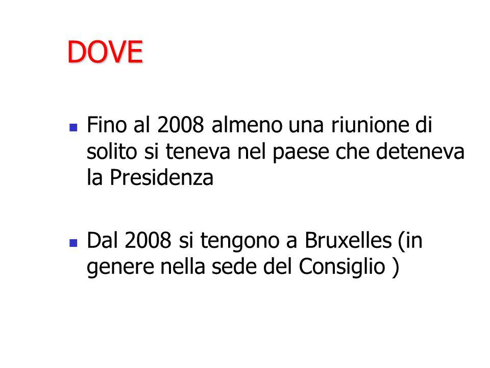 DOVE Fino al 2008 almeno una riunione di solito si teneva nel paese che deteneva la Presidenza Dal 2008 si tengono a Bruxelles (in genere nella sede del Consiglio )