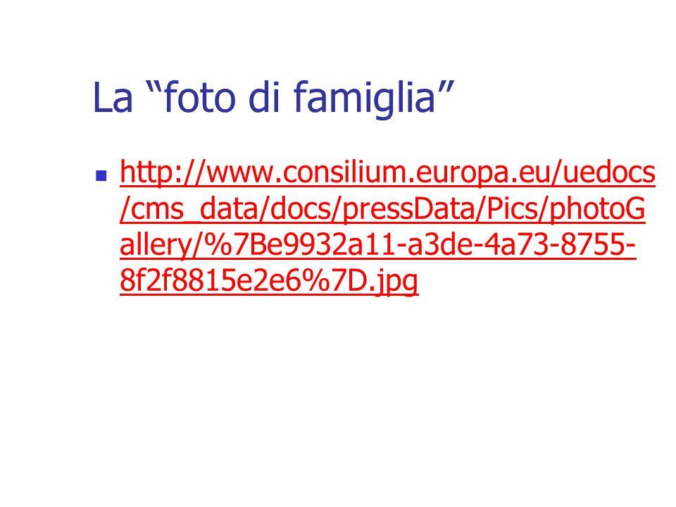 La foto di famiglia http://www.consilium.europa.eu/uedocs /cms_data/docs/pressData/Pics/photoG allery/%7Be9932a11-a3de-4a73-8755- 8f2f8815e2e6%7D.jpg http://www.consilium.europa.eu/uedocs /cms_data/docs/pressData/Pics/photoG allery/%7Be9932a11-a3de-4a73-8755- 8f2f8815e2e6%7D.jpg