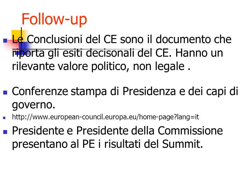 Follow-up Le Conclusioni del CE sono il documento che riporta gli esiti decisonali del CE.