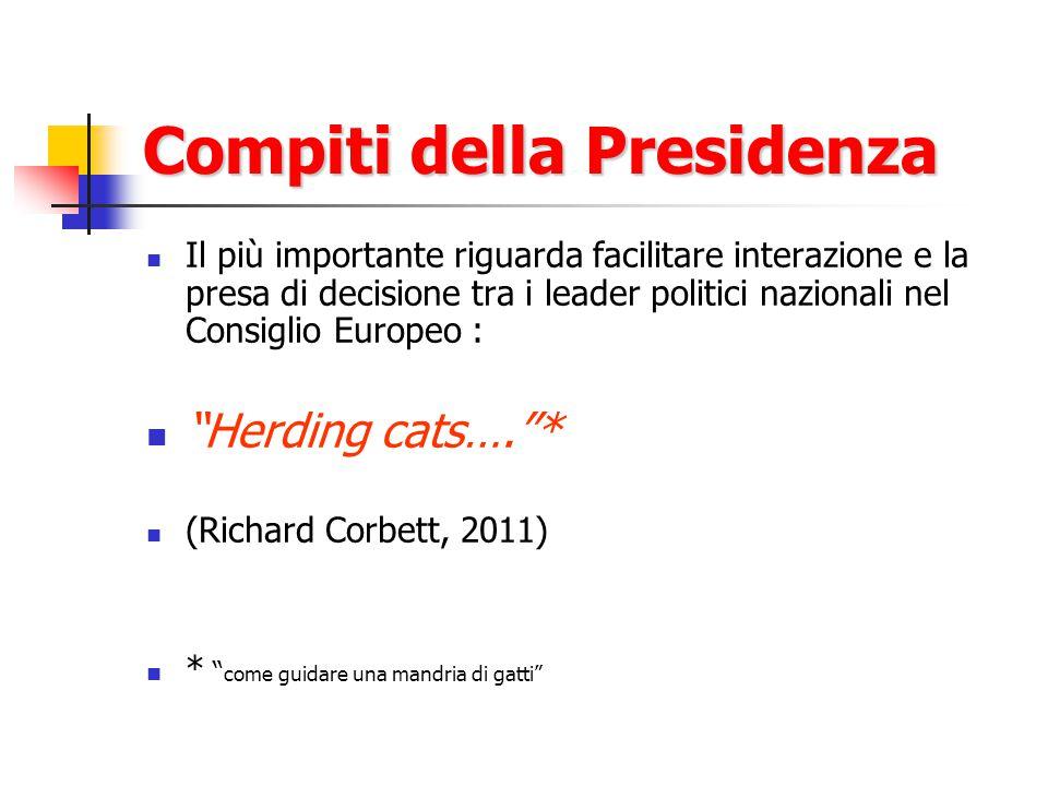 Compiti della Presidenza Il più importante riguarda facilitare interazione e la presa di decisione tra i leader politici nazionali nel Consiglio Europeo : Herding cats…. * (Richard Corbett, 2011) * come guidare una mandria di gatti
