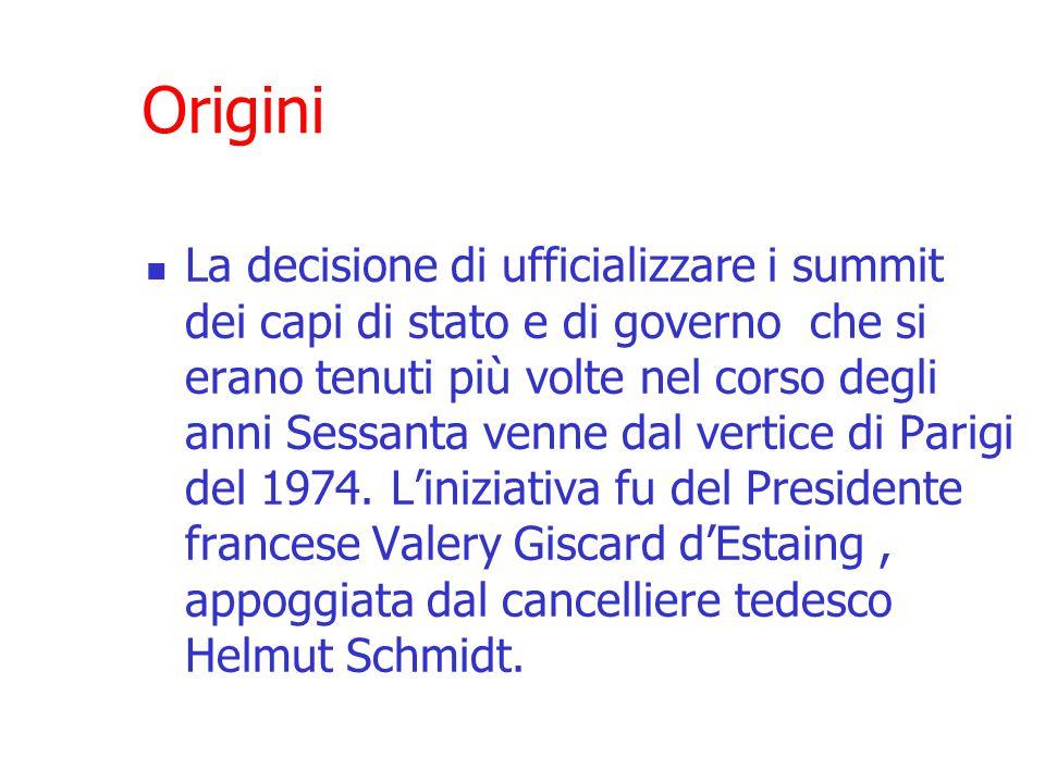 Origini La decisione di ufficializzare i summit dei capi di stato e di governo che si erano tenuti più volte nel corso degli anni Sessanta venne dal vertice di Parigi del 1974.