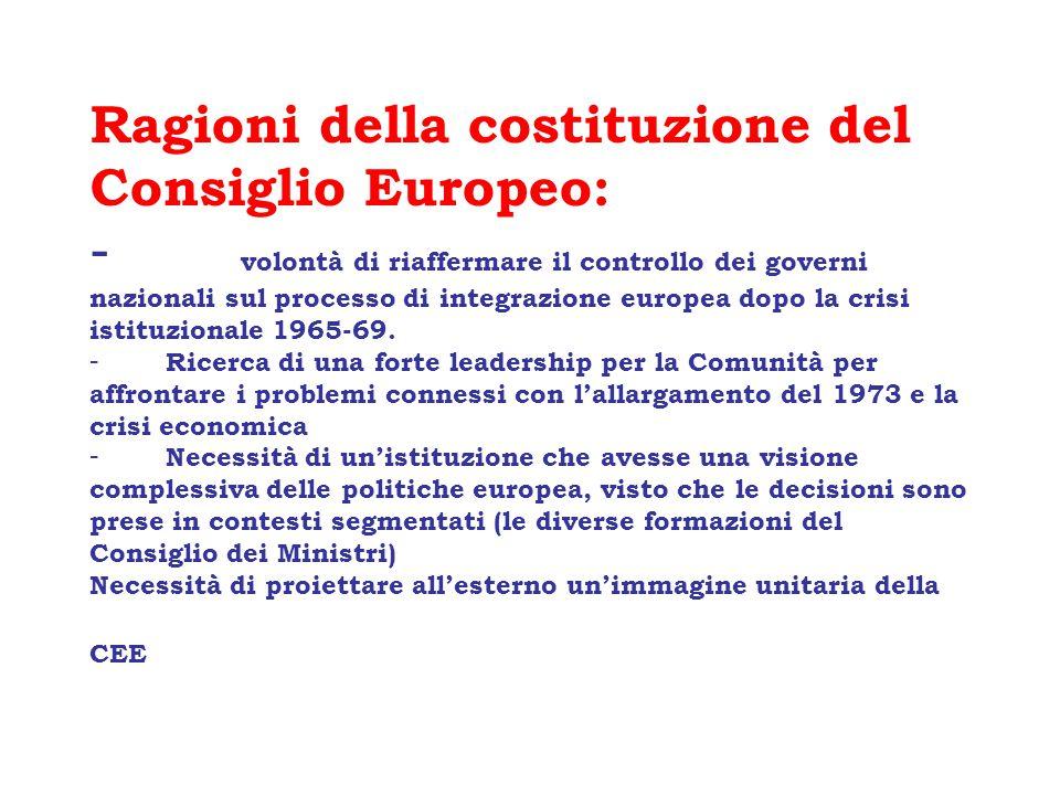 ) QUESTIONI ISTITUZIONALI O COSTITUZIONALI specifiche questioni istituzionali (Ioannina 1994) -costituzionalizzaione della UE, riforme istituzionali (Milano 1985; Laeken 2001) problemi di ratifica del Trattato di Lisbona dopo il referendum irlandese (giugno 2008)