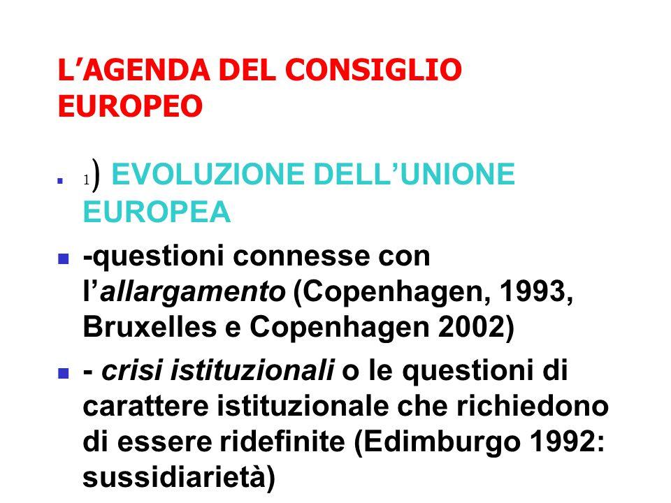 L'AGENDA DEL CONSIGLIO EUROPEO 1 ) EVOLUZIONE DELL'UNIONE EUROPEA -questioni connesse con l'allargamento (Copenhagen, 1993, Bruxelles e Copenhagen 2002) - crisi istituzionali o le questioni di carattere istituzionale che richiedono di essere ridefinite (Edimburgo 1992: sussidiarietà)