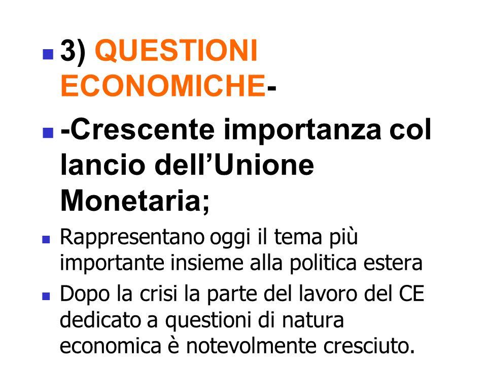 3) QUESTIONI ECONOMICHE- -Crescente importanza col lancio dell'Unione Monetaria; Rappresentano oggi il tema più importante insieme alla politica estera Dopo la crisi la parte del lavoro del CE dedicato a questioni di natura economica è notevolmente cresciuto.