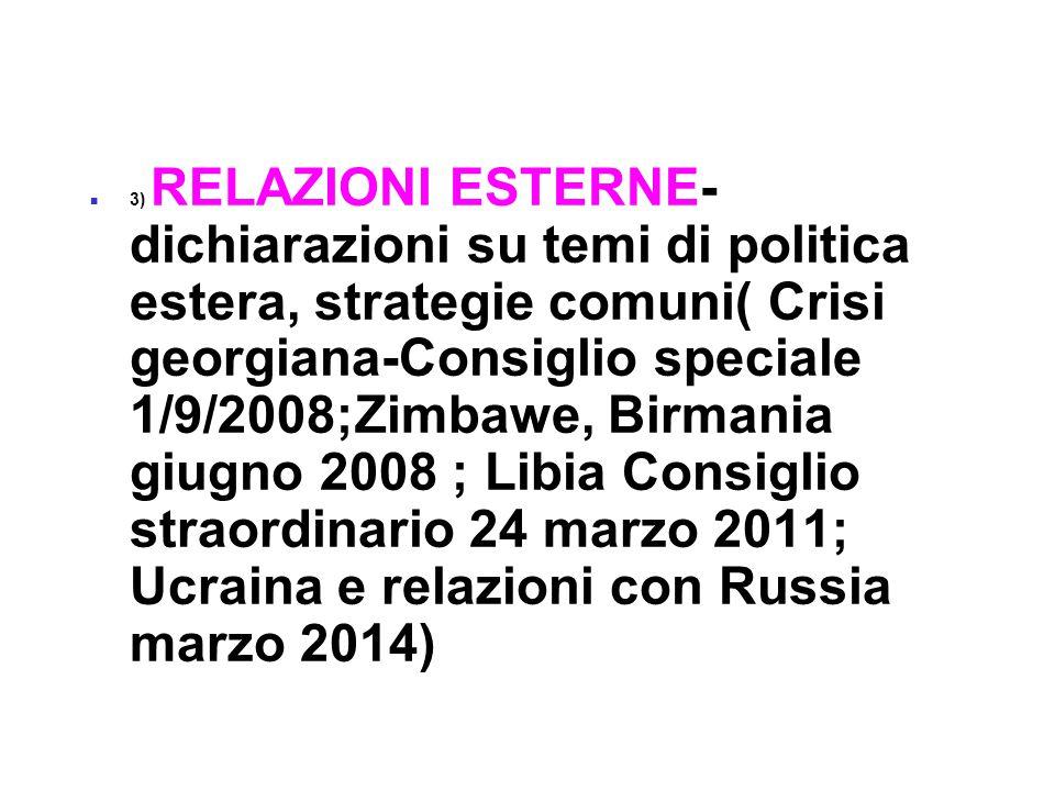 3) RELAZIONI ESTERNE- dichiarazioni su temi di politica estera, strategie comuni( Crisi georgiana-Consiglio speciale 1/9/2008;Zimbawe, Birmania giugno 2008 ; Libia Consiglio straordinario 24 marzo 2011; Ucraina e relazioni con Russia marzo 2014)