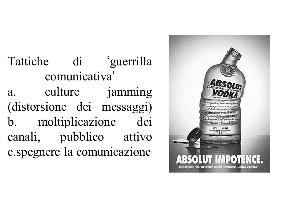 Tattiche di ' guerrilla comunicativa ' a. culture jamming (distorsione dei messaggi) b.