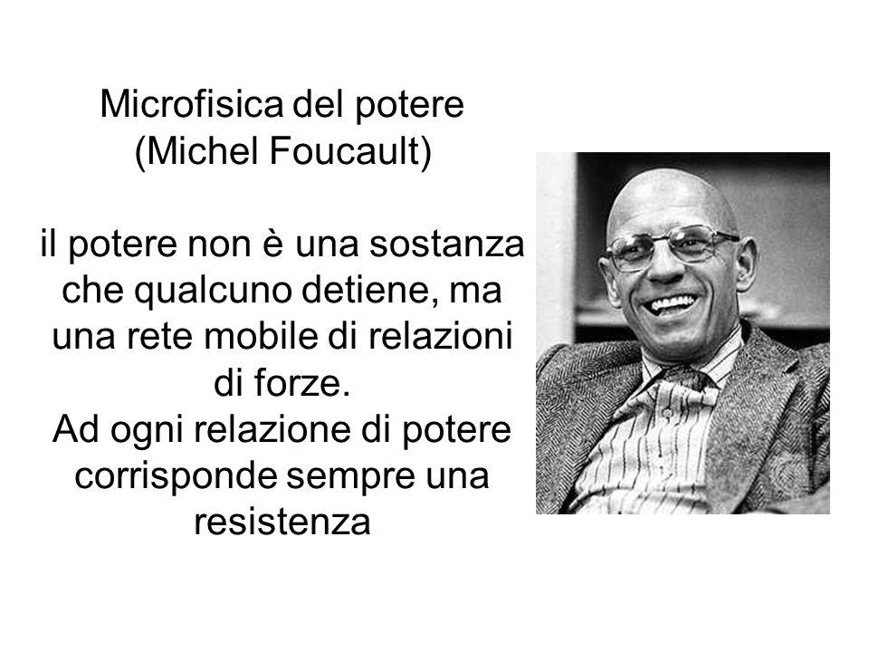 Microfisica del potere (Michel Foucault) il potere non è una sostanza che qualcuno detiene, ma una rete mobile di relazioni di forze.
