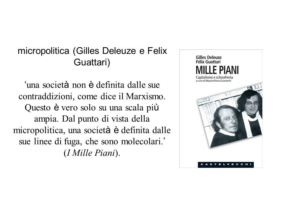 micropolitica (Gilles Deleuze e Felix Guattari) ' una societ à non è definita dalle sue contraddizioni, come dice il Marxismo.