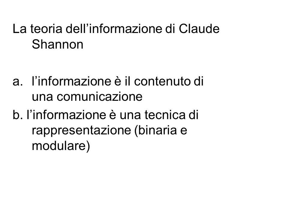 La teoria dell'informazione di Claude Shannon a.l'informazione è il contenuto di una comunicazione b.