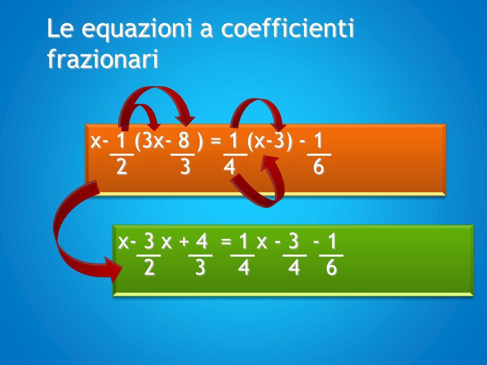 Le equazioni a coefficienti frazionari Tutti i termini dell'equazione vengono ridotti allo stesso denominatore x- 3 x + 4 = 1 x - 3 - 1 2 3 4 4 6 2 3 4 4 6 x- 3 x + 4 = 1 x - 3 - 1 2 3 4 4 6 2 3 4 4 6
