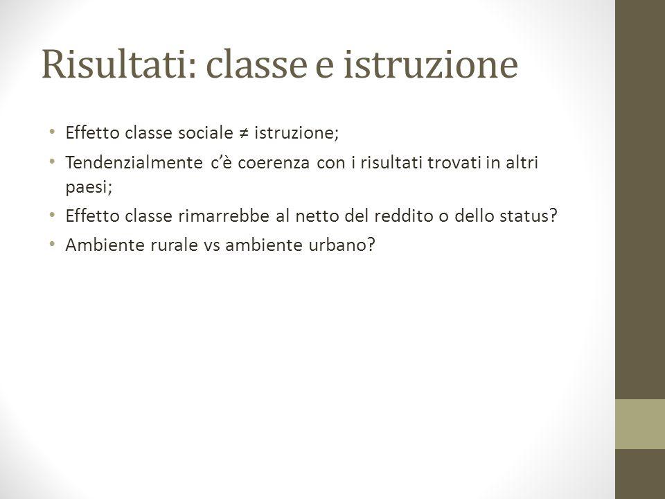 Risultati: classe e istruzione Effetto classe sociale ≠ istruzione; Tendenzialmente c'è coerenza con i risultati trovati in altri paesi; Effetto classe rimarrebbe al netto del reddito o dello status.