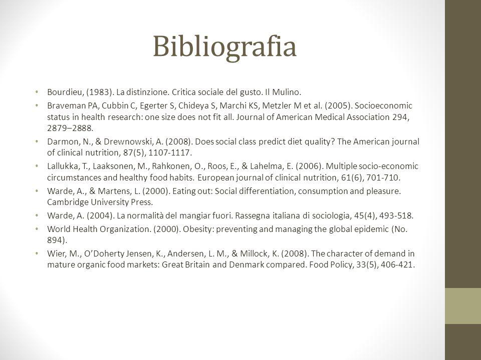 Bibliografia Bourdieu, (1983). La distinzione. Critica sociale del gusto.