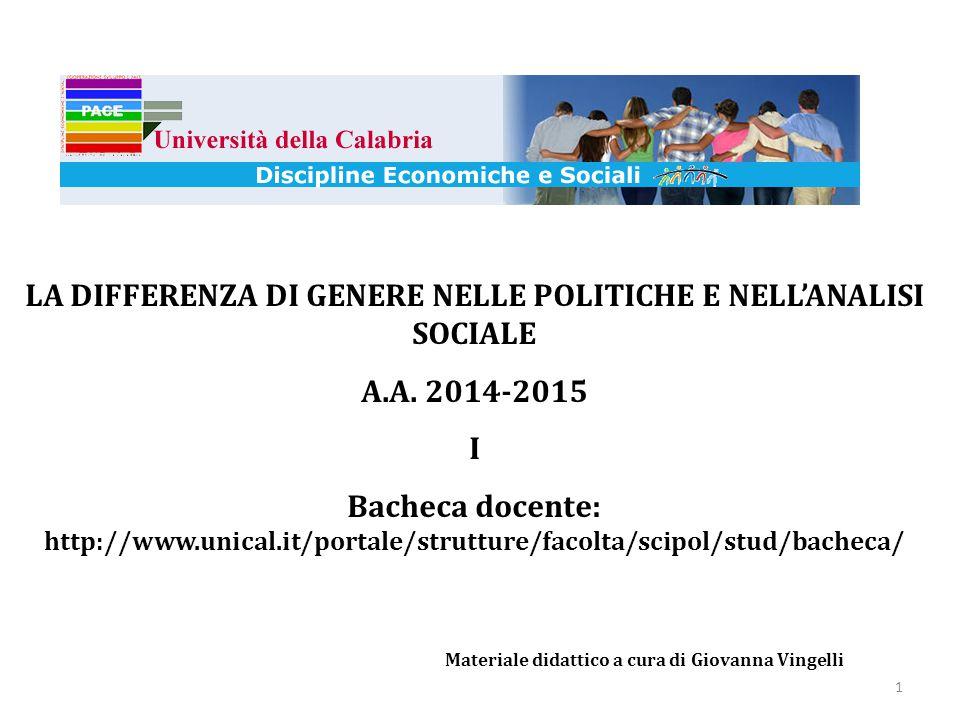 LA DIFFERENZA DI GENERE NELLE POLITICHE E NELL'ANALISI SOCIALE A.A. 2014-2015 I Bacheca docente: http://www.unical.it/portale/strutture/facolta/scipol