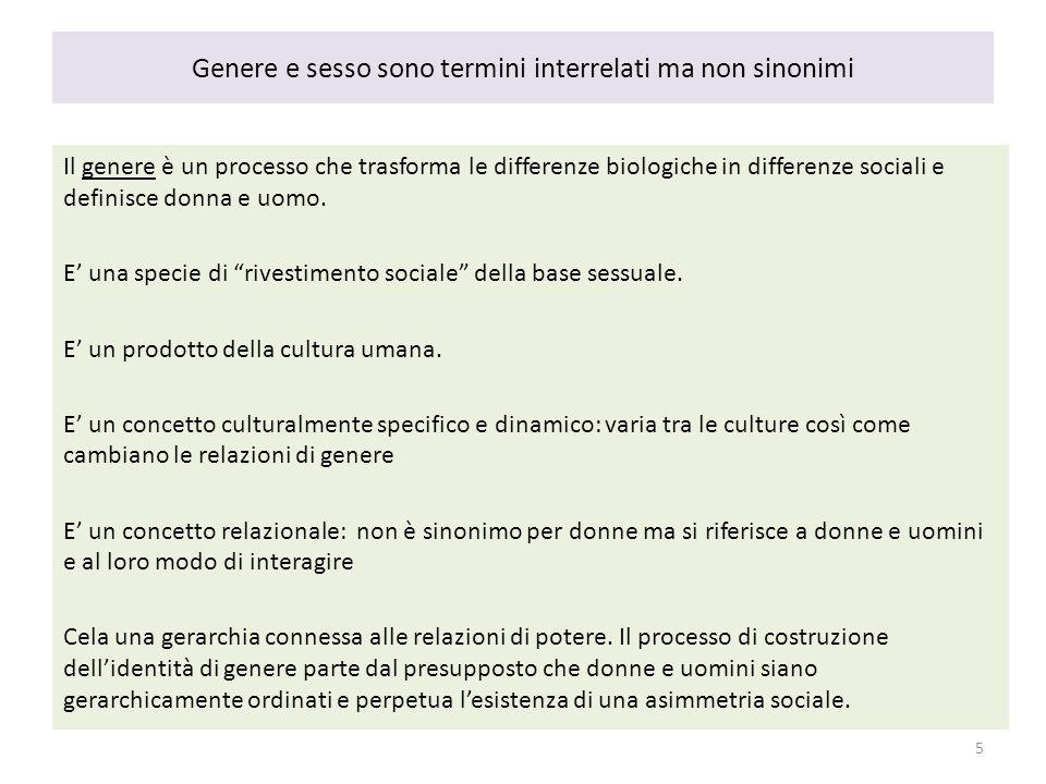 Genere e sesso sono termini interrelati ma non sinonimi Il genere è un processo che trasforma le differenze biologiche in differenze sociali e definis