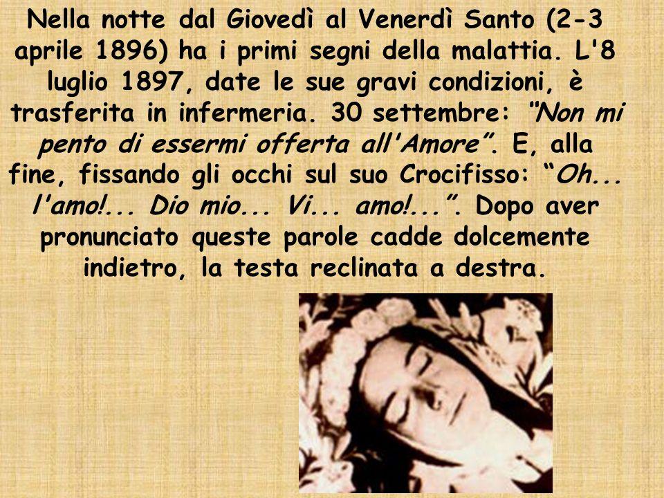 Nella notte dal Giovedì al Venerdì Santo (2-3 aprile 1896) ha i primi segni della malattia. L'8 luglio 1897, date le sue gravi condizioni, è trasferit