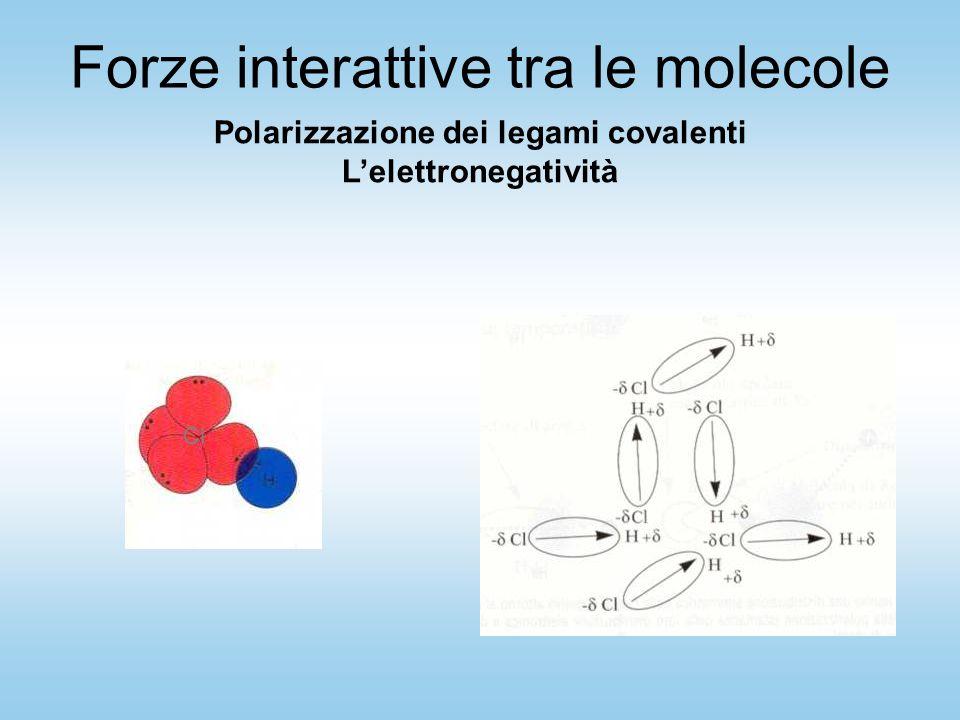 Cl Polarizzazione dei legami covalenti L'elettronegatività Forze interattive tra le molecole
