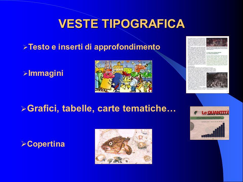 VESTE TIPOGRAFICA  Testo e inserti di approfondimento  Immagini  Grafici, tabelle, carte tematiche…  Copertina