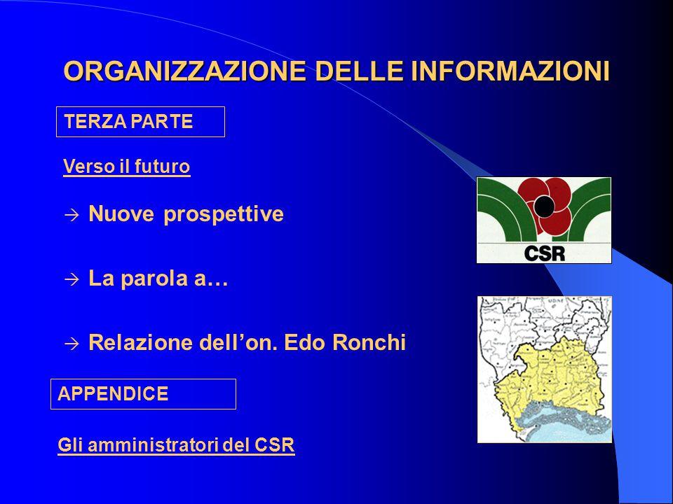 ORGANIZZAZIONE DELLE INFORMAZIONI  Nuove prospettive  La parola a…  Relazione dell'on.