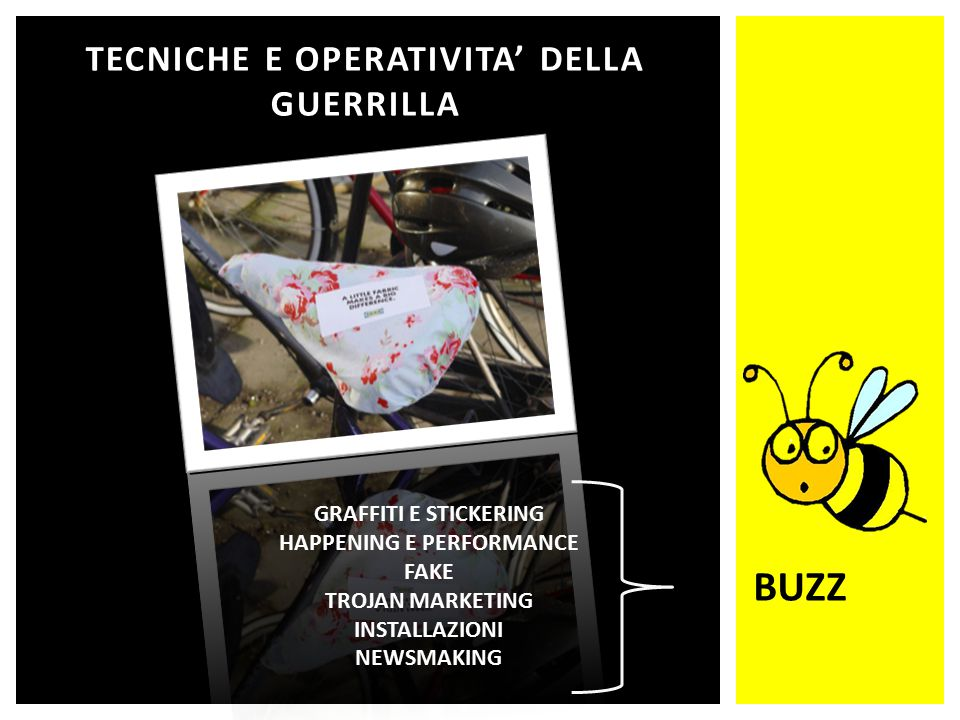 TECNICHE E OPERATIVITA' DELLA GUERRILLA GRAFFITI E STICKERING HAPPENING E PERFORMANCE FAKE TROJAN MARKETING INSTALLAZIONI NEWSMAKING BUZZ