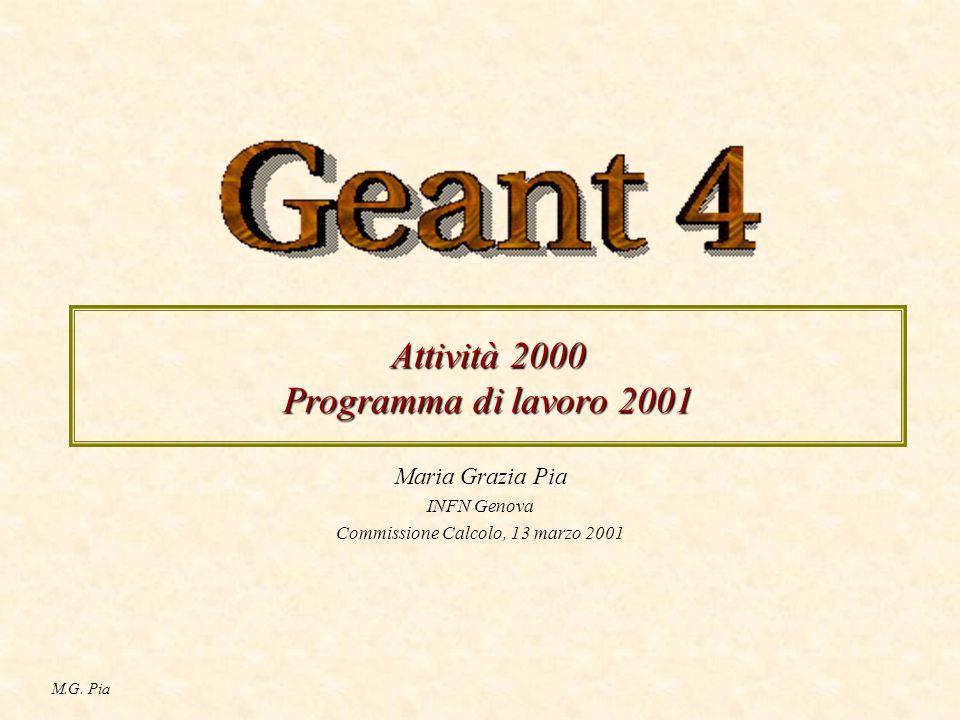 M.G. Pia Attività 2000 Programma di lavoro 2001 Maria Grazia Pia INFN Genova Commissione Calcolo, 13 marzo 2001