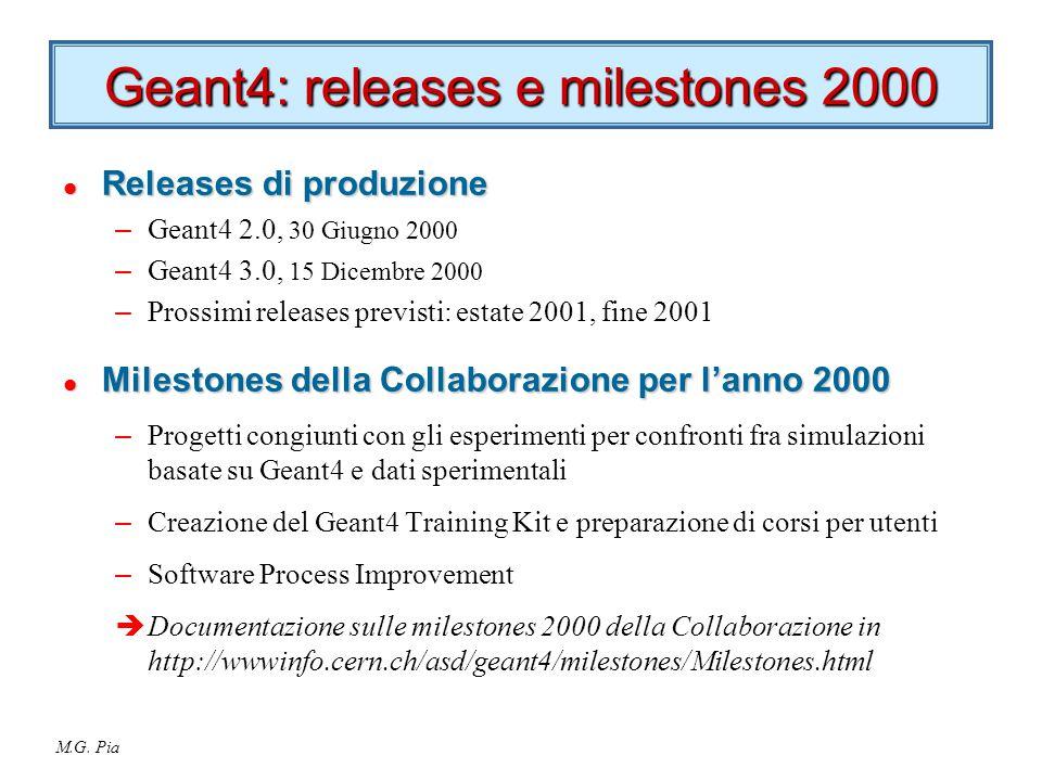 M.G. Pia Geant4: releases e milestones 2000 l Releases di produzione – Geant4 2.0, 30 Giugno 2000 – Geant4 3.0, 15 Dicembre 2000 – Prossimi releases p