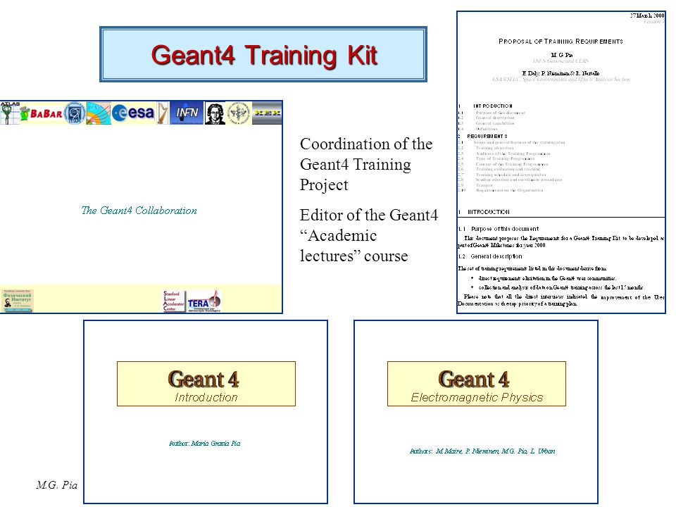 "M.G. Pia Geant4 Training Kit Coordination of the Geant4 Training Project Editor of the Geant4 ""Academic lectures"" course"