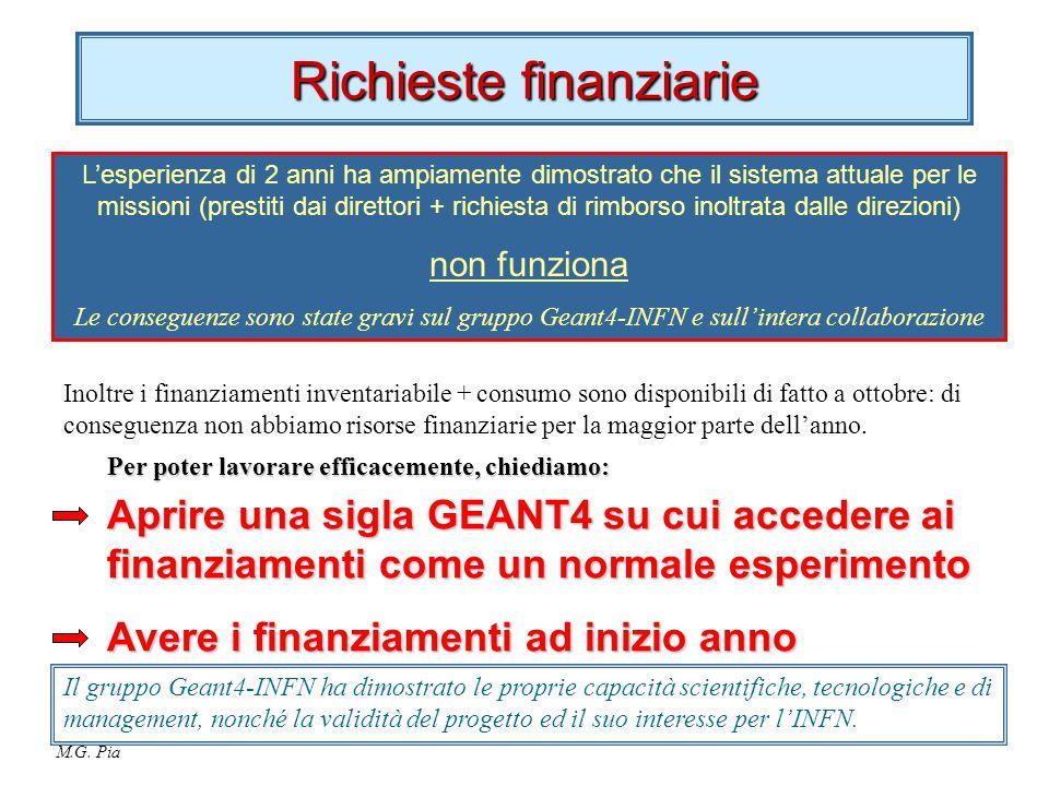M.G. Pia Richieste finanziarie L'esperienza di 2 anni ha ampiamente dimostrato che il sistema attuale per le missioni (prestiti dai direttori + richie