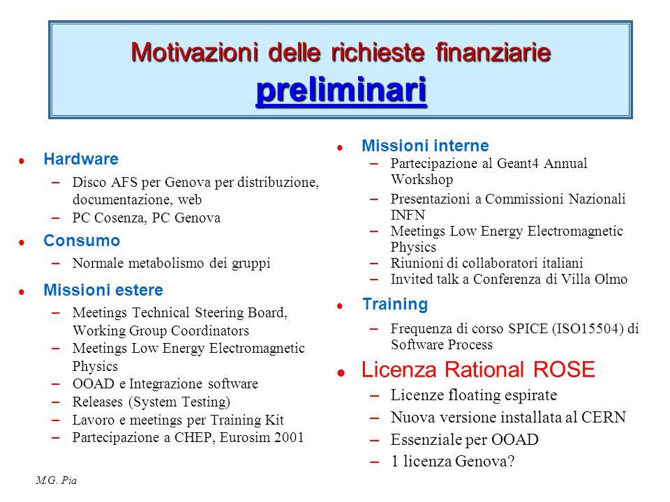 M.G. Pia Motivazioni delle richieste finanziarie preliminari l Hardware – Disco AFS per Genova per distribuzione, documentazione, web – PC Cosenza, PC