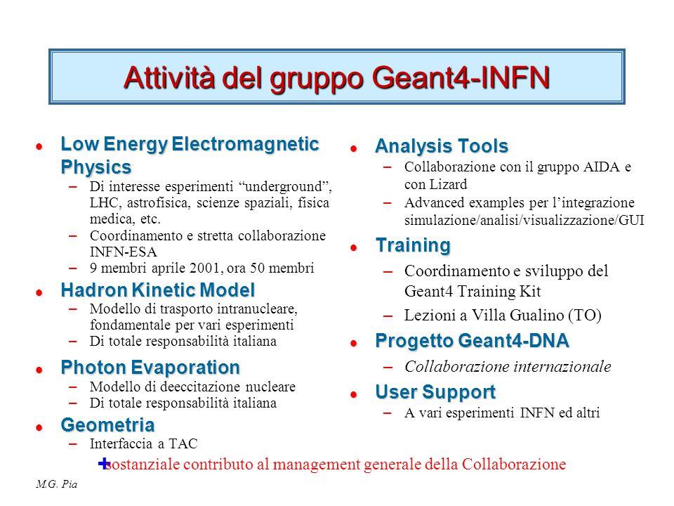 "M.G. Pia Attività del gruppo Geant4-INFN l Low Energy Electromagnetic Physics – Di interesse esperimenti ""underground"", LHC, astrofisica, scienze spaz"