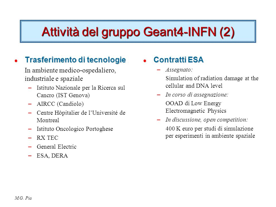 M.G. Pia Attività del gruppo Geant4-INFN (2) l Trasferimento di tecnologie In ambiente medico-ospedaliero, industriale e spaziale – Istituto Nazionale