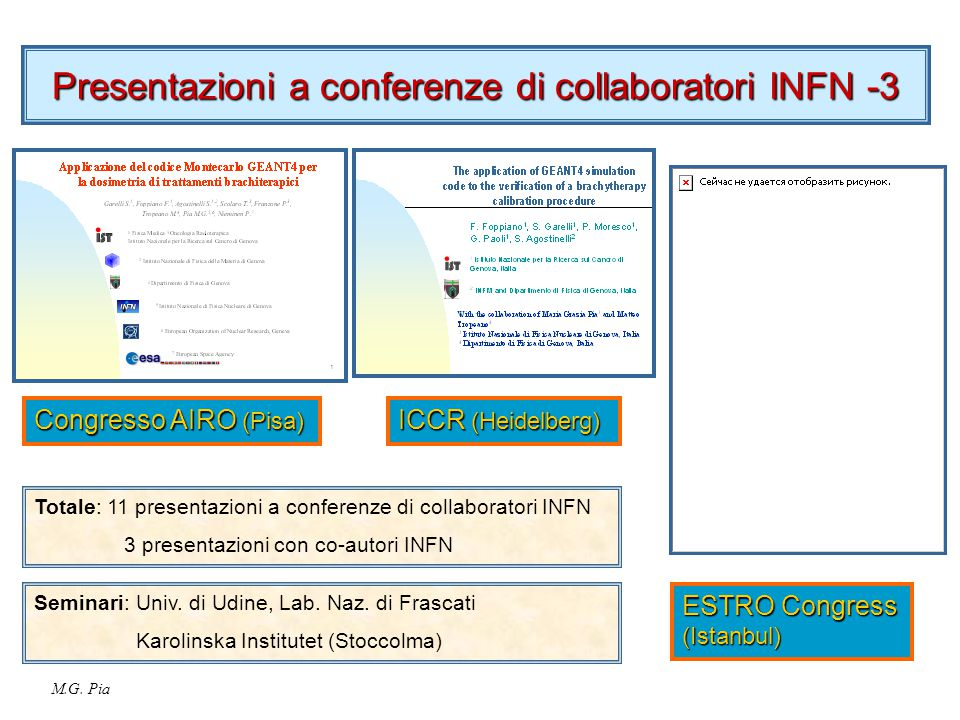 M.G. Pia Presentazioni a conferenze di collaboratori INFN -3 Congresso AIRO (Pisa) ESTRO Congress (Istanbul) ICCR (Heidelberg) Totale: 11 presentazion