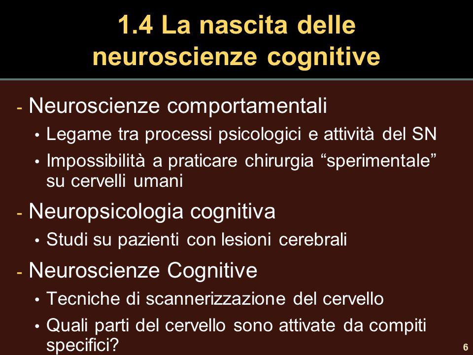 6 1.4 La nascita delle neuroscienze cognitive - Neuroscienze comportamentali Legame tra processi psicologici e attività del SN Impossibilità a praticare chirurgia sperimentale su cervelli umani - Neuropsicologia cognitiva Studi su pazienti con lesioni cerebrali - Neuroscienze Cognitive Tecniche di scannerizzazione del cervello Quali parti del cervello sono attivate da compiti specifici?