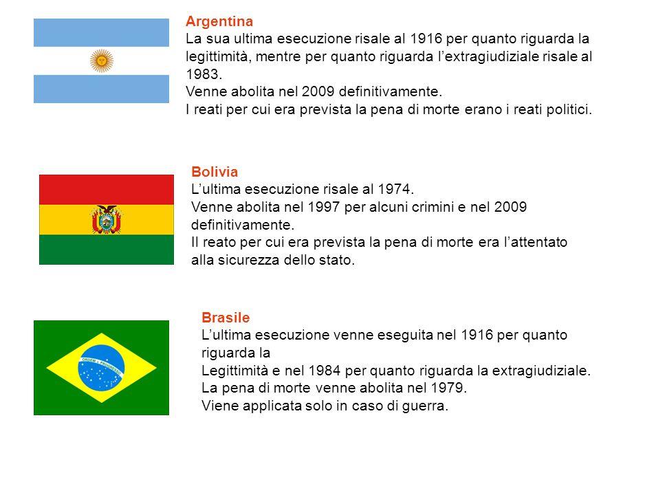 Argentina La sua ultima esecuzione risale al 1916 per quanto riguarda la legittimità, mentre per quanto riguarda l'extragiudiziale risale al 1983. Ven
