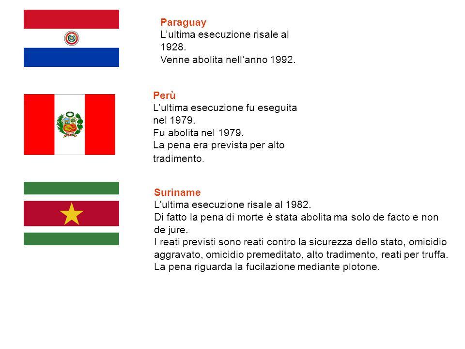 Paraguay L'ultima esecuzione risale al 1928. Venne abolita nell'anno 1992. Perù L'ultima esecuzione fu eseguita nel 1979. Fu abolita nel 1979. La pena