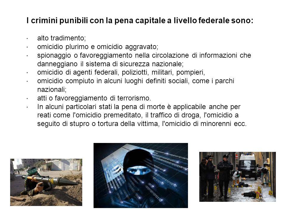 I crimini punibili con la pena capitale a livello federale sono: alto tradimento; omicidio plurimo e omicidio aggravato; spionaggio o favoreggiamento