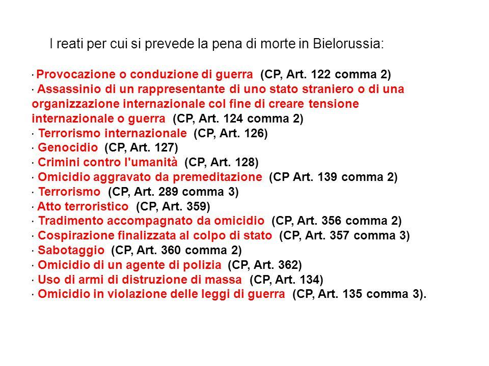 Provocazione o conduzione di guerra (CP, Art. 122 comma 2) Assassinio di un rappresentante di uno stato straniero o di una organizzazione internaziona
