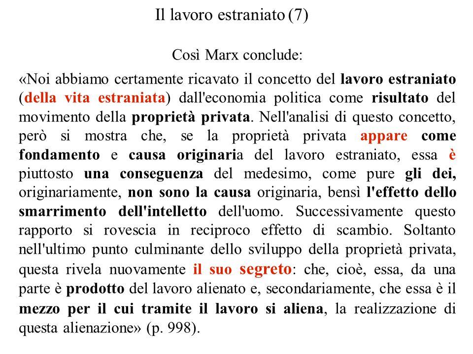 Il lavoro estraniato (7) Così Marx conclude: «Noi abbiamo certamente ricavato il concetto del lavoro estraniato (della vita estraniata) dall'economia