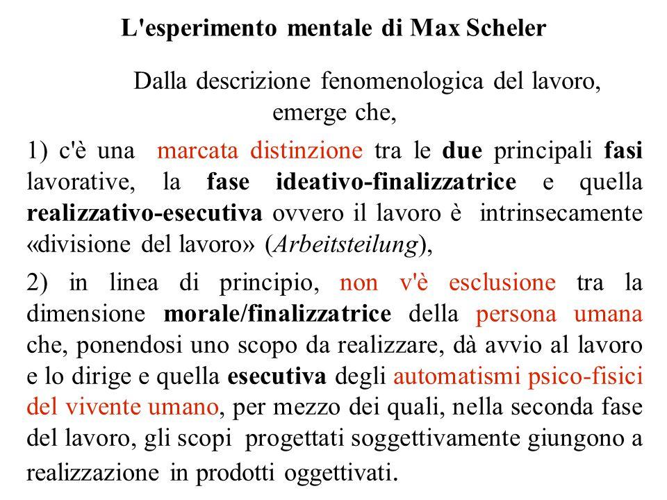 L'esperimento mentale di Max Scheler Dalla descrizione fenomenologica del lavoro, emerge che, 1) c'è una marcata distinzione tra le due principali fas