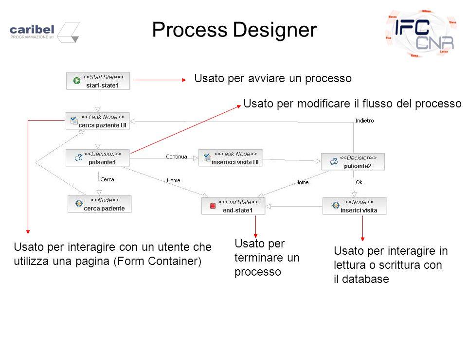 Process Designer Usato per avviare un processo Usato per modificare il flusso del processo Usato per interagire con un utente che utilizza una pagina (Form Container) Usato per terminare un processo Usato per interagire in lettura o scrittura con il database