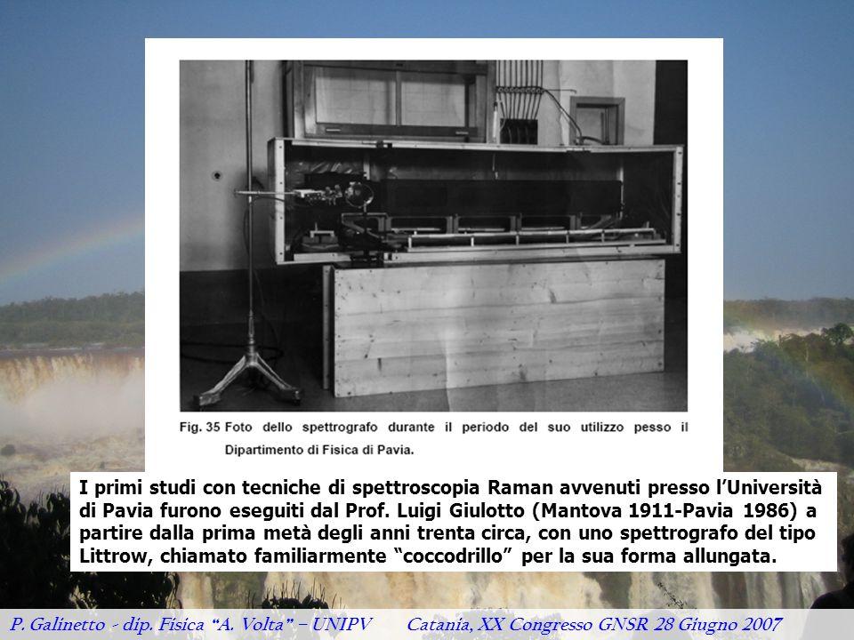 """P. Galinetto - dip. Fisica """"A. Volta"""" – UNIPV Catania, XX Congresso GNSR 28 Giugno 2007 I primi studi con tecniche di spettroscopia Raman avvenuti pre"""