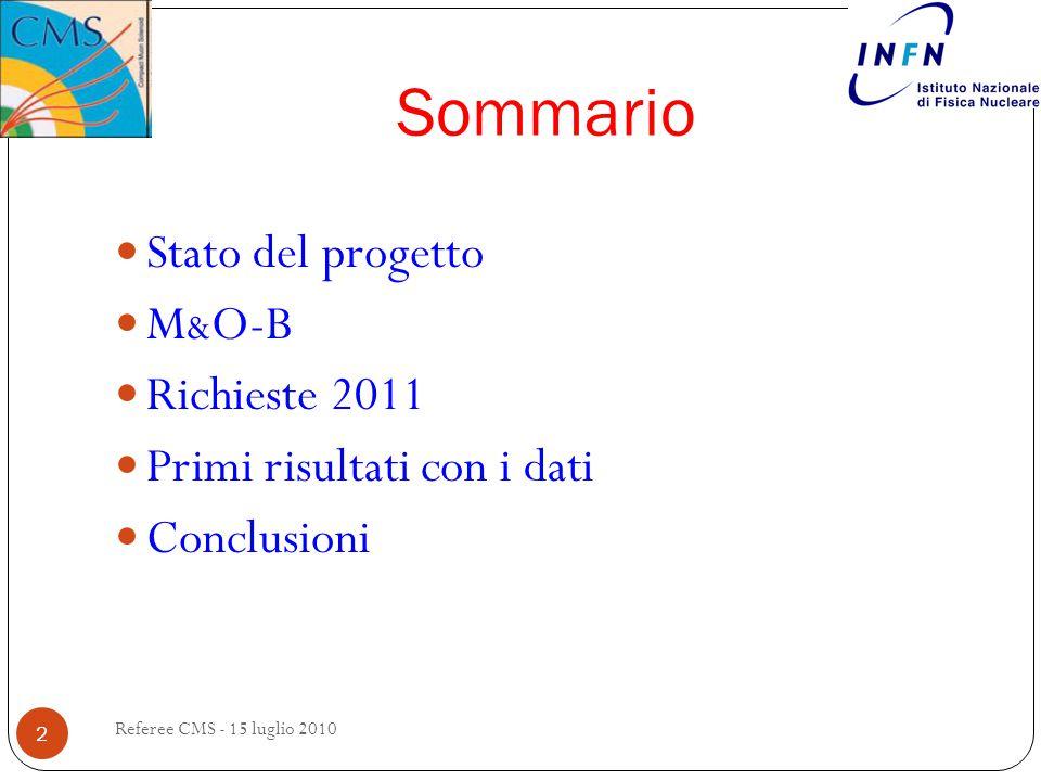 Sommario Stato del progetto M & O-B Richieste 2011 Primi risultati con i dati Conclusioni 2 Referee CMS - 15 luglio 2010