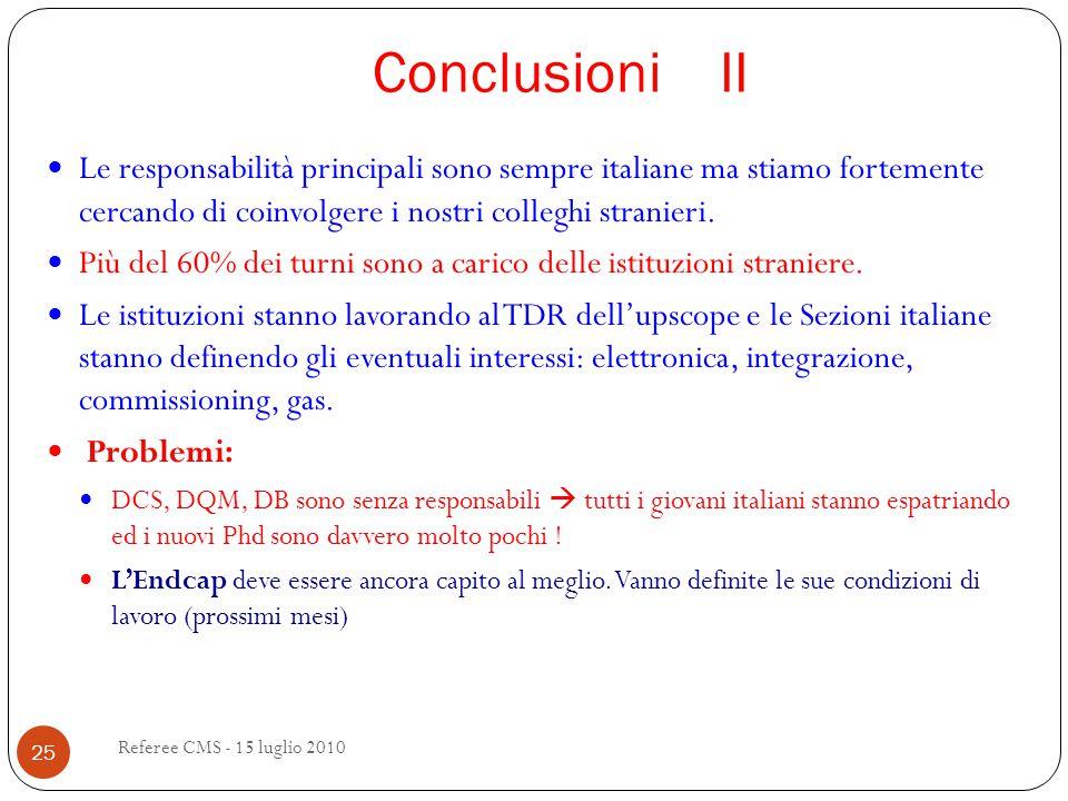 Conclusioni II Referee CMS - 15 luglio 2010 25 Le responsabilità principali sono sempre italiane ma stiamo fortemente cercando di coinvolgere i nostri colleghi stranieri.