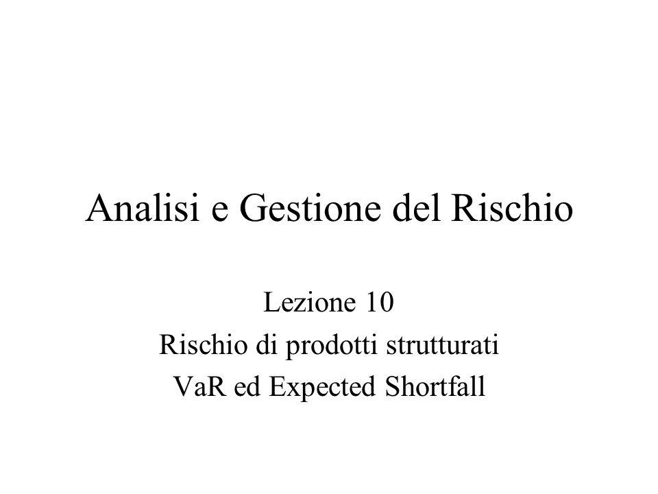 Analisi e Gestione del Rischio Lezione 10 Rischio di prodotti strutturati VaR ed Expected Shortfall