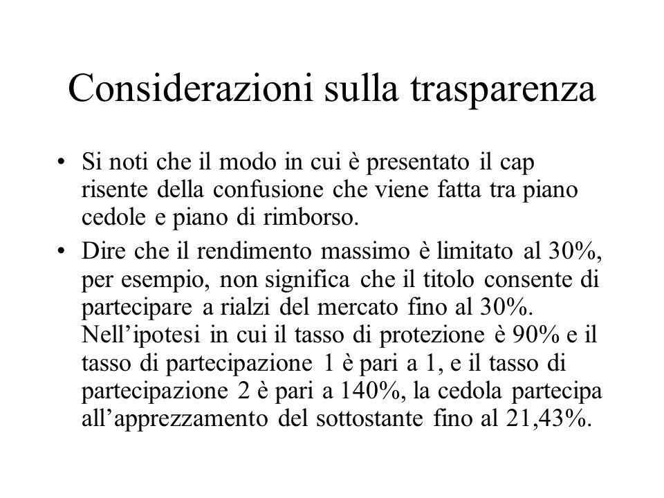 Considerazioni sulla trasparenza Si noti che il modo in cui è presentato il cap risente della confusione che viene fatta tra piano cedole e piano di rimborso.
