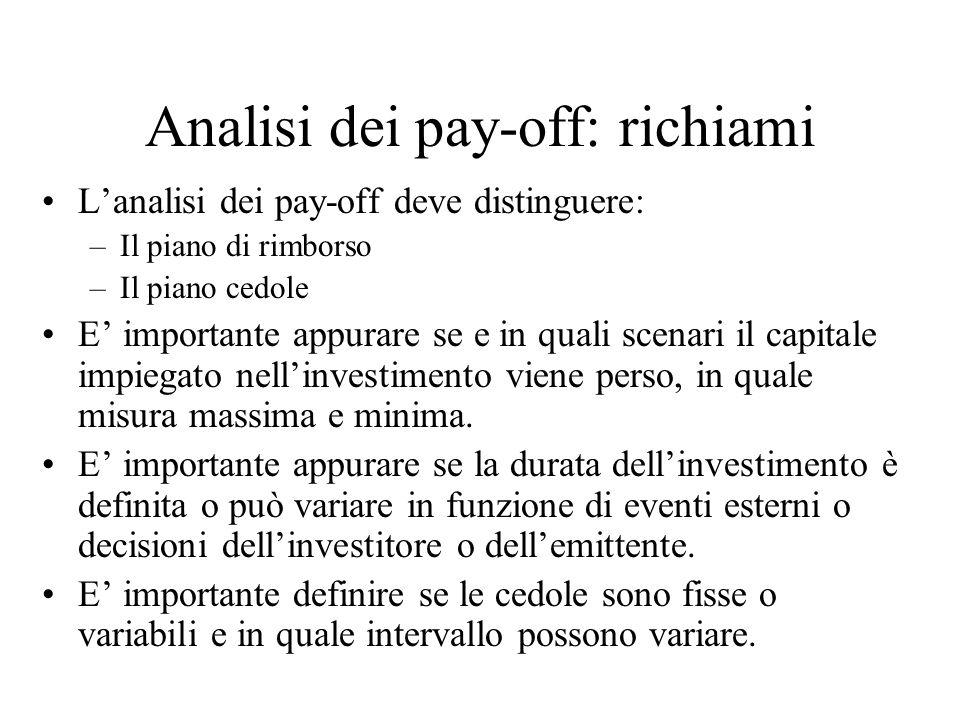 Analisi dei pay-off: richiami L'analisi dei pay-off deve distinguere: –Il piano di rimborso –Il piano cedole E' importante appurare se e in quali scenari il capitale impiegato nell'investimento viene perso, in quale misura massima e minima.