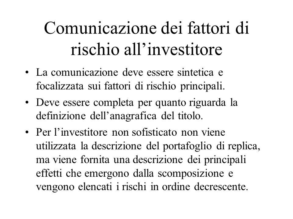 Comunicazione dei fattori di rischio all'investitore La comunicazione deve essere sintetica e focalizzata sui fattori di rischio principali.